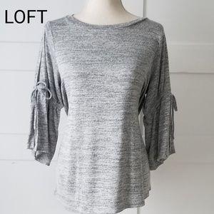 LOFT 3/4 tie, bell-sleeve, spacedye top, Sz M